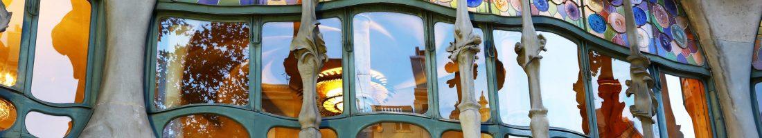 Close-up of a strange window of Casa Batllò, a masterpiece by famous architect Antoni Gaudì.